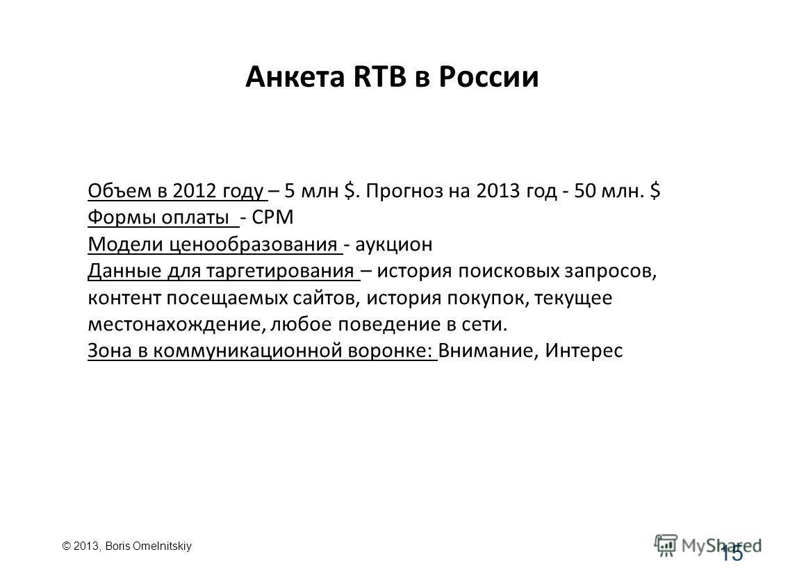 Анкета RTB в России 15 Объем в 2012 году – 5 млн $. Прогноз на 2013 год - 50 млн. $ Формы оплаты - CPM Модели ценообразования - аукцион Данные для таргетирования – история поисковых запросов, контент посещаемых сайтов, история покупок, текущее местон