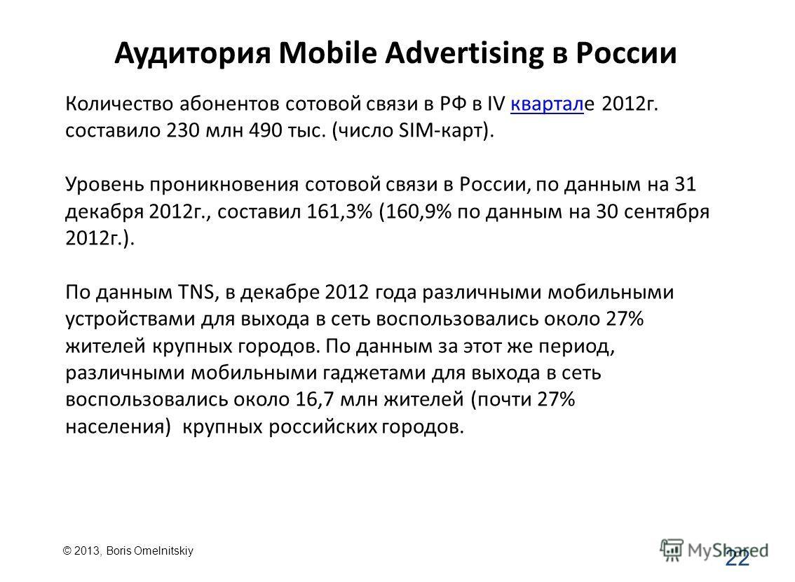 Аудитория Mobile Advertising в России 22 Количество абонентов сотовой связи в РФ в IV квартале 2012г. составило 230 млн 490 тыс. (число SIM-карт).квартал Уровень проникновения сотовой связи в России, по данным на 31 декабря 2012г., составил 161,3% (1
