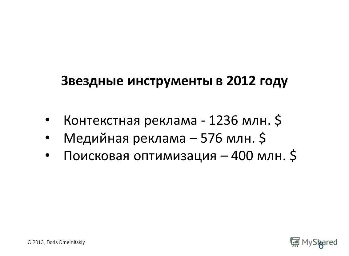 Звездные инструменты в 2012 году Контекстная реклама - 1236 млн. $ Медийная реклама – 576 млн. $ Поисковая оптимизация – 400 млн. $ 6 © 2013, Boris Omelnitskiy