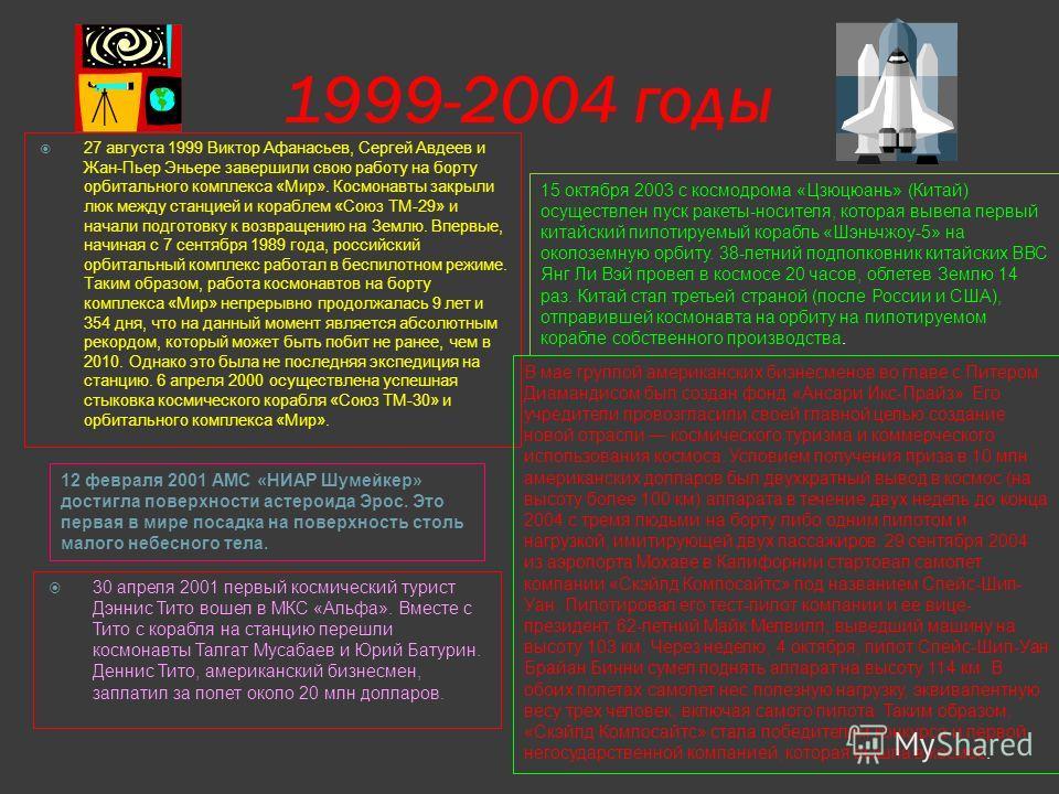 1993 -1998 годы 4 декабря 1996 с космодрома Мыс Канаверал (США) осуществлен пуск ракеты-носителя, которая вывела на орбиту американский КА «Марс Пасфайндер». После мягкой посадки станции на поверхность Марса 4 июля 1997 по специальным направляющим с