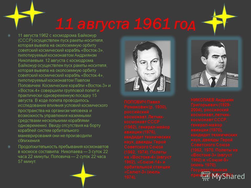 6 августа 1961 год 6 августа 1961 с космодрома Байконур (СССР) осуществлен пуск ракеты- носителя, которая вывела на околоземную орбиту советский космический корабль «Восток-2». Космический корабль пилотировал советский космонавт Герман Титов. Полет п