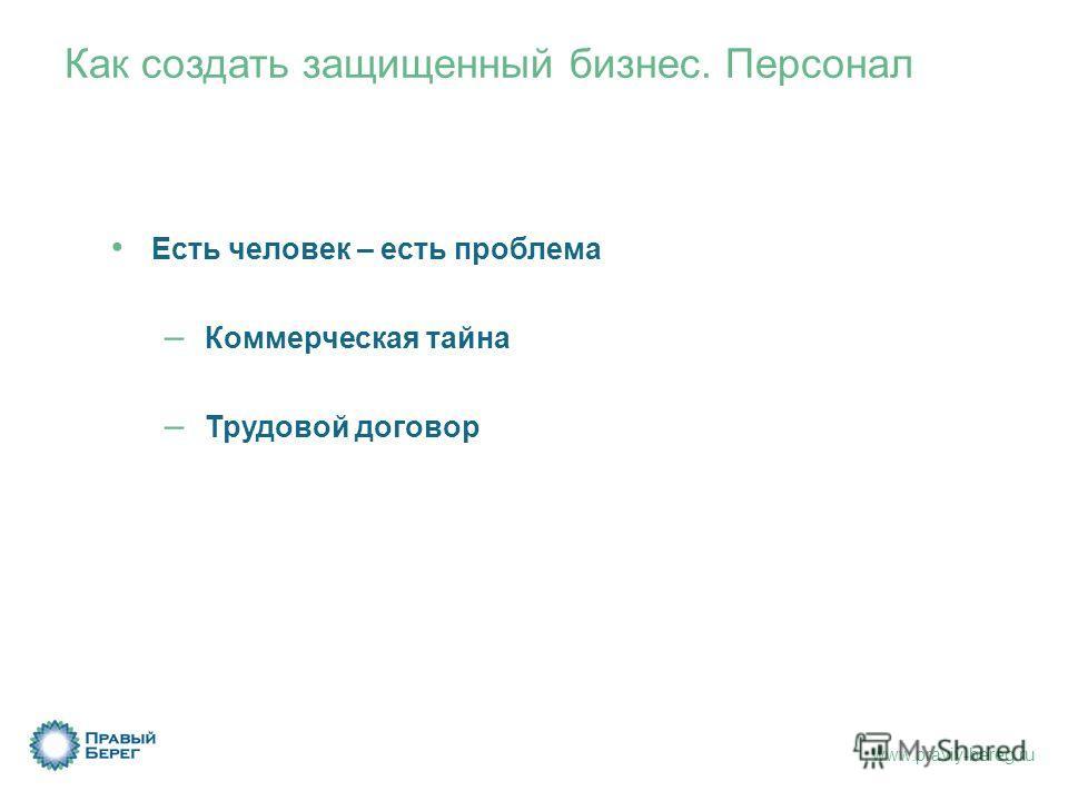 www.praviy-bereg.ru Как создать защищенный бизнес. Персонал Есть человек – есть проблема – Коммерческая тайна – Трудовой договор