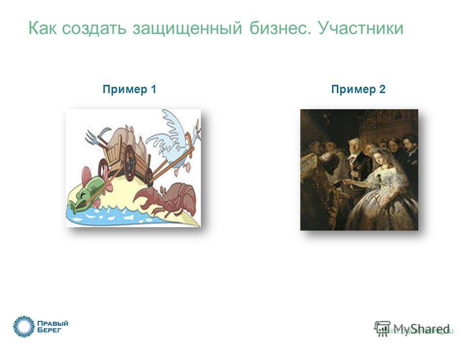 www.praviy-bereg.ru Как создать защищенный бизнес. Участники Пример 1Пример 2