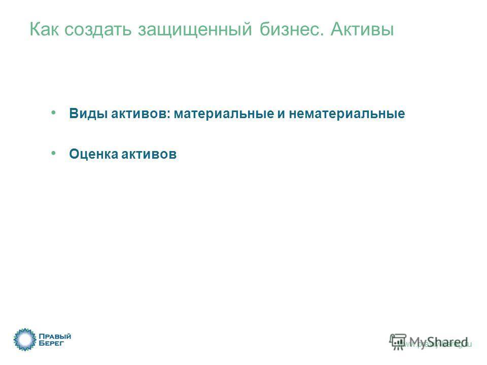 www.praviy-bereg.ru Как создать защищенный бизнес. Активы Виды активов: материальные и нематериальные Оценка активов