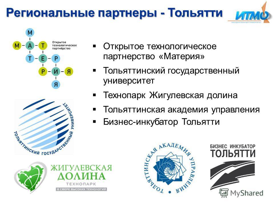 Региональные партнеры - Тольятти Открытое технологическое партнерство «Материя» Тольяттинский государственный университет Технопарк Жигулевская долина Тольяттинская академия управления Бизнес-инкубатор Тольятти