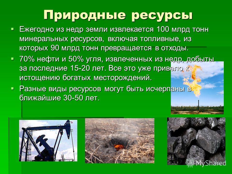 Природные ресурсы Ежегодно из недр земли извлекается 100 млрд тонн минеральных ресурсов, включая топливные, из которых 90 млрд тонн превращается в отходы. Ежегодно из недр земли извлекается 100 млрд тонн минеральных ресурсов, включая топливные, из ко
