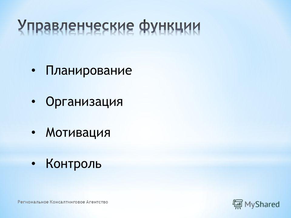 Планирование Организация Мотивация Контроль