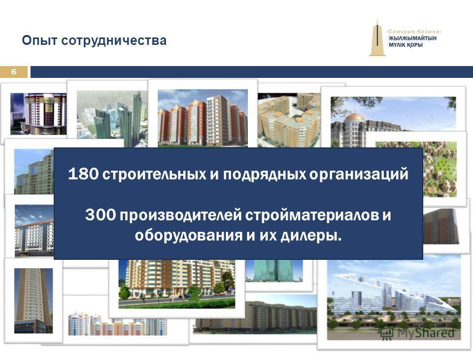 180 строительных и подрядных организаций 300 производителей стройматериалов и оборудования и их дилеры. 6 Опыт сотрудничества