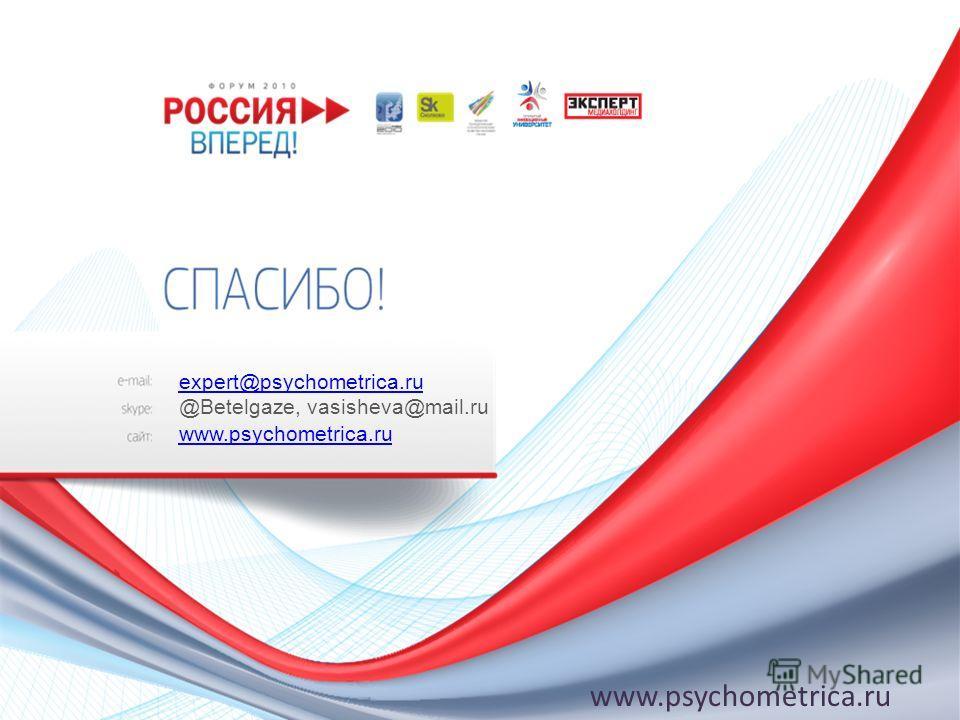 expert@psychometrica.ru @Betelgaze, vasisheva@mail.ru www.psychometrica.ru