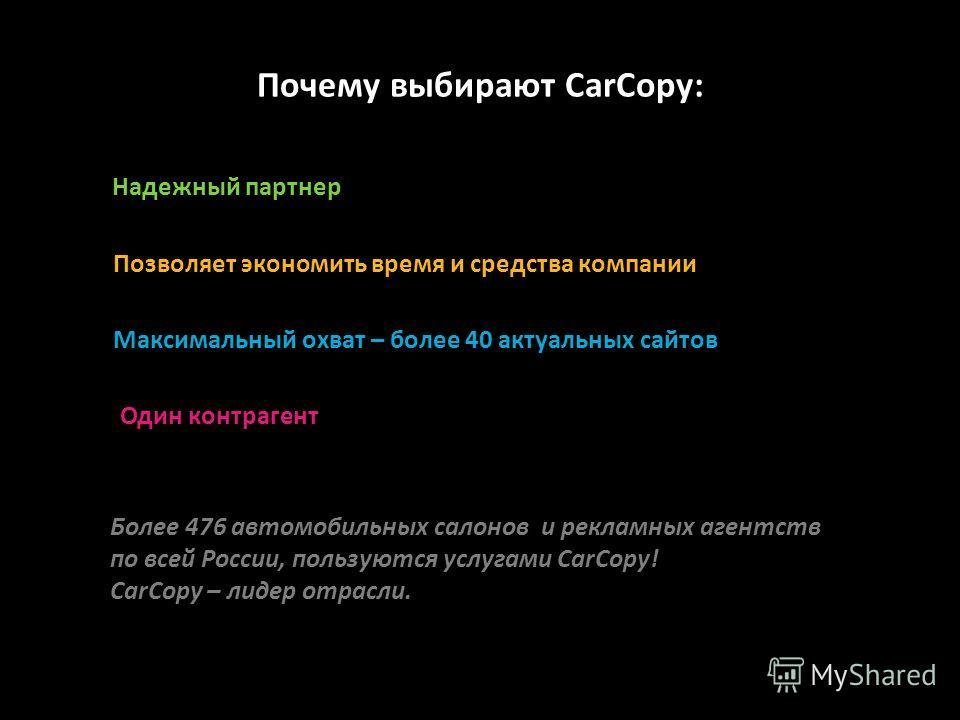 Почему выбирают CarCopy: Надежный партнер Максимальный охват – более 40 актуальных сайтов Позволяет экономить время и средства компании Более 476 автомобильных салонов и рекламных агентств по всей России, пользуются услугами CarCopy! CarCopy – лидер