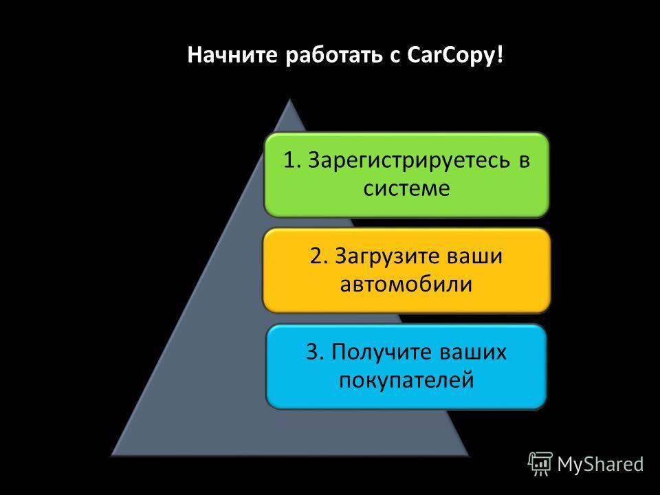 Начните работать с CarCopy! 1. Зарегистрируетесь в системе 2. Загрузите ваши автомобили 3. Получите ваших покупателей