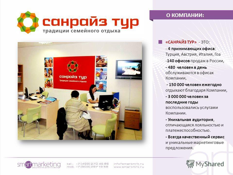 «САНРАЙЗ ТУР» - ЭТО: - 4 принимающих офиса: Турция, Австрия, Италия, Гоа -140 офисов продаж в России, - 480 человек в день обслуживаются в офисах Компании, - 150 000 человек ежегодно отдыхают благодаря Компании, - 3 000 000 человек за последние годы