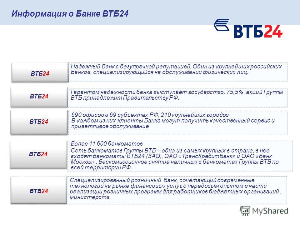 Информация о Банке ВТБ24 ВТБ24 Надежный Банк с безупречной репутацией. Один из крупнейших российских Банков, специализирующийся на обслуживании физических лиц. ВТБ24 Гарантом надежности банка выступает государство. 75,5% акций Группы ВТБ принадлежит