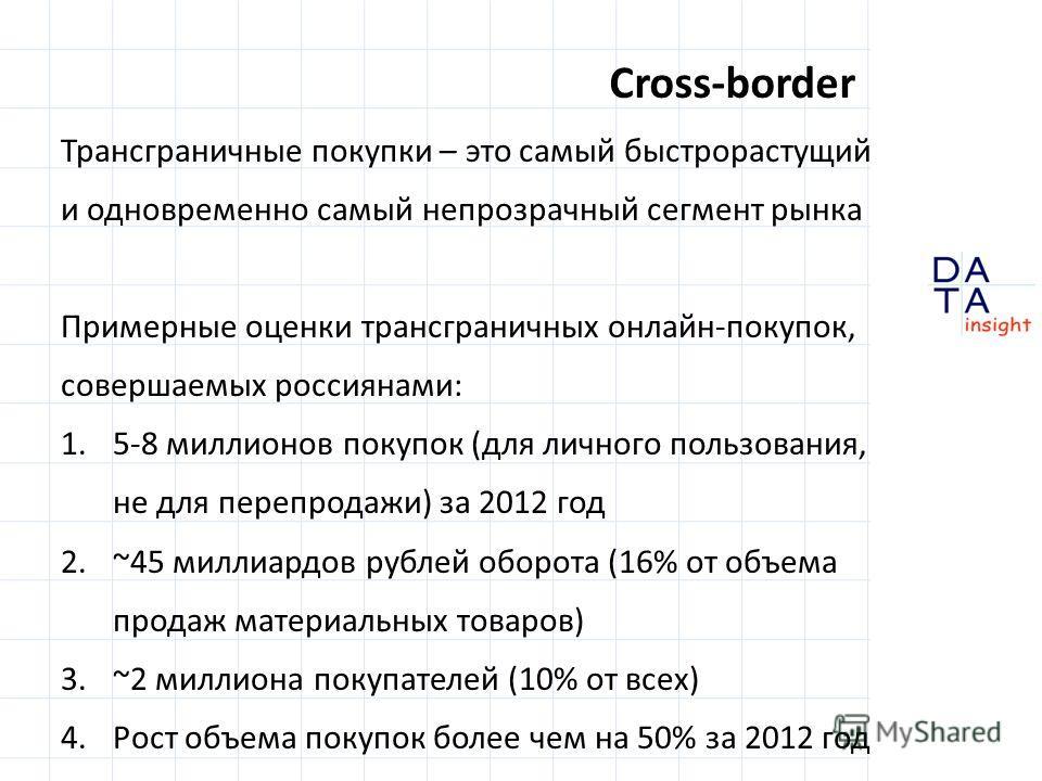 Cross-border Трансграничные покупки – это самый быстрорастущий и одновременно самый непрозрачный сегмент рынка Примерные оценки трансграничных онлайн-покупок, совершаемых россиянами: 1.5-8 миллионов покупок (для личного пользования, не для перепродаж