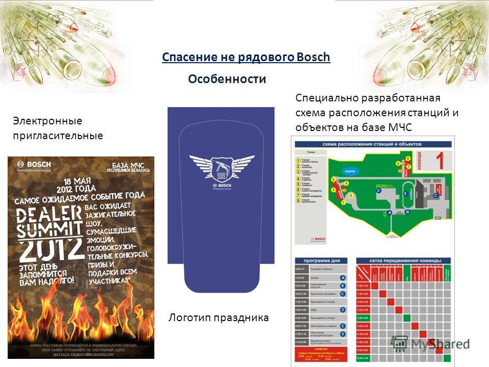 Спасение не рядового Bosch Особенности Специально разработанная схема расположения станций и объектов на базе МЧС Электронные пригласительные Логотип праздника