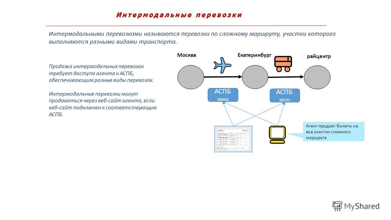Интермодальные перевозки Интермодальными перевозками называются перевозки по сложному маршруту, участки которого выполняются разными видами транспорта. Агент продает билеты на все участки сложного маршрута Екатеринбург Москва райцентр Продажа интермо