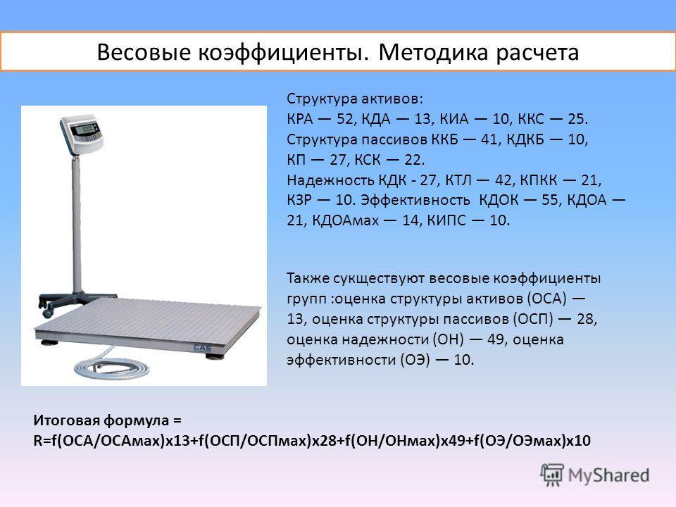 Структура активов: КРА 52, КДА 13, КИА 10, ККС 25. Структура пассивов ККБ 41, КДКБ 10, КП 27, КСК 22. Надежность КДК - 27, КТЛ 42, КПКК 21, КЗР 10. Эффективность КДОК 55, КДОА 21, КДОАмах 14, КИПС 10. Также сукществуют весовые коэффициенты групп :оце