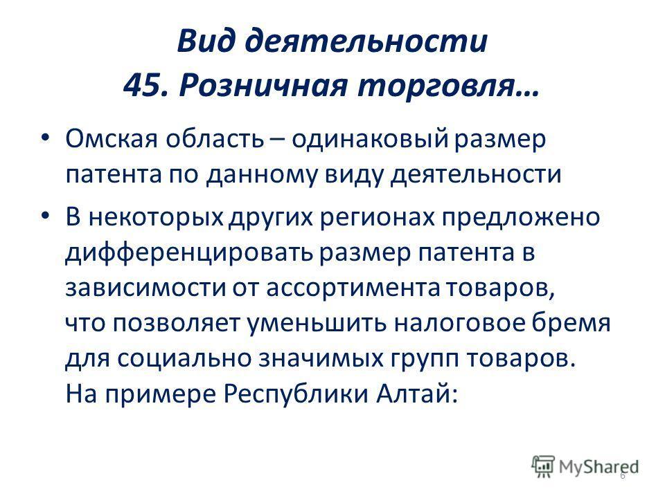Вид деятельности 45. Розничная торговля… Омская область – одинаковый размер патента по данному виду деятельности В некоторых других регионах предложено дифференцировать размер патента в зависимости от ассортимента товаров, что позволяет уменьшить нал