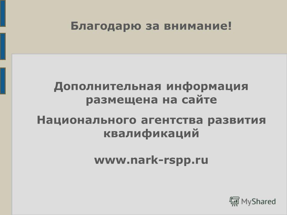 Благодарю за внимание! Дополнительная информация размещена на сайте Национального агентства развития квалификаций www.nark-rspp.ru