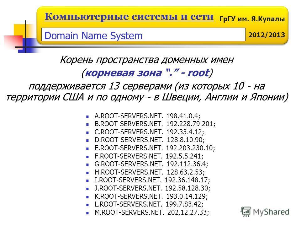 ГрГУ им. Я.Купалы 2012/2013 Компьютерные системы и сети Корень пространства доменных имен (корневая зона. - root) поддерживается 13 серверами (из которых 10 - на территории США и по одному - в Швеции, Англии и Японии) A.ROOT-SERVERS.NET. 198.41.0.4;