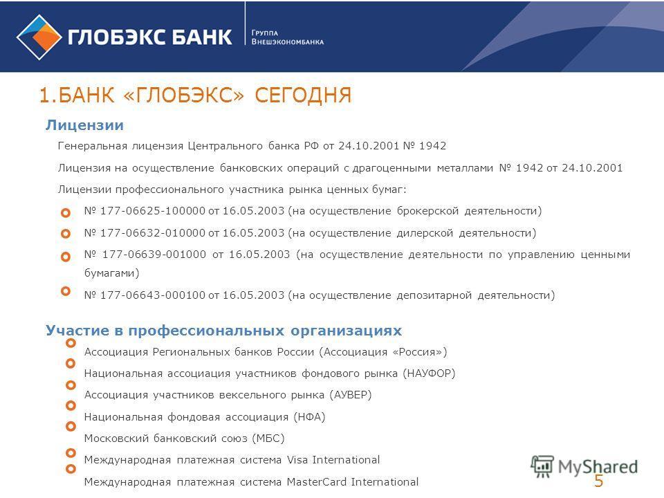 Лицензии Генеральная лицензия Центрального банка РФ от 24.10.2001 1942 Лицензия на осуществление банковских операций с драгоценными металлами 1942 от 24.10.2001 Лицензии профессионального участника рынка ценных бумаг: 177-06625-100000 от 16.05.2003 (