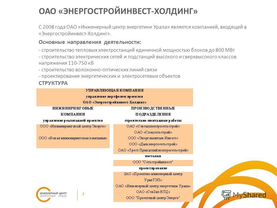 ОАО «ЭНЕРГОСТРОЙИНВЕСТ-ХОЛДИНГ» С 2008 года ОАО «Инженерный центр энергетики Урала» является компанией, входящей в «Энергостройинвест-Холдинг». Основные направления деятельности: - строительство тепловых электростанций единичной мощностью блоков до 8