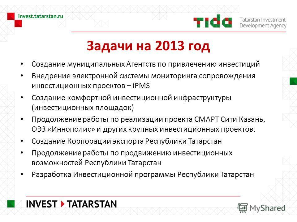 Задачи на 2013 год Создание муниципальных Агентств по привлечению инвестиций Внедрение электронной системы мониторинга сопровождения инвестиционных проектов – iPMS Создание комфортной инвестиционной инфраструктуры (инвестиционных площадок) Продолжени