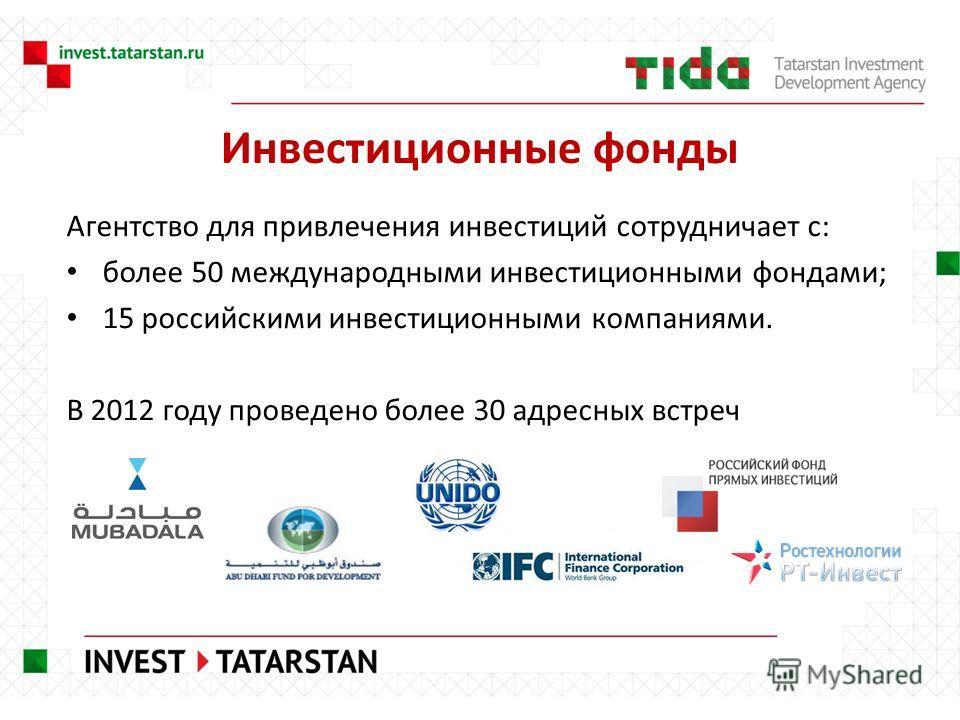 Инвестиционные фонды Агентство для привлечения инвестиций сотрудничает с: более 50 международными инвестиционными фондами; 15 российскими инвестиционными компаниями. В 2012 году проведено более 30 адресных встреч