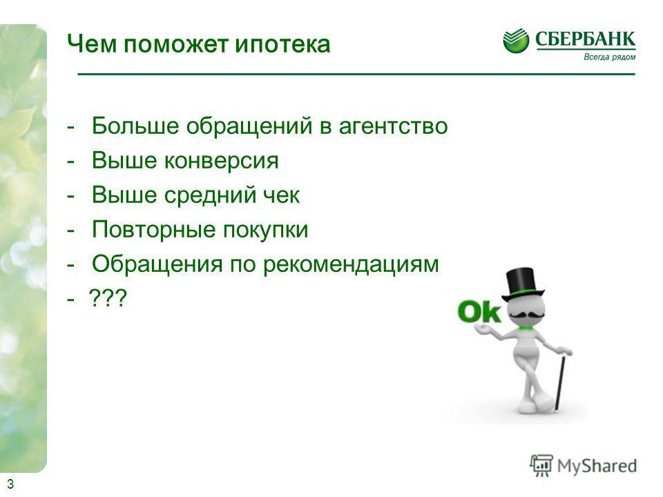 Чем поможет ипотека -Больше обращений в агентство -Выше конверсия -Выше средний чек -Повторные покупки -Обращения по рекомендациям - ??? 3