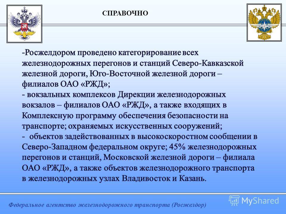 Федеральное агентство железнодорожного транспорта (Росжелдор) СПРАВОЧНО