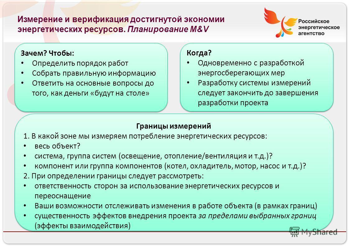 Российское энергетическое агентство Измерение и верификация достигнутой экономии энергетических ресурсов. Планирование M&V Зачем? Чтобы: Определить порядок работ Собрать правильную информацию Ответить на основные вопросы до того, как деньги «будут на