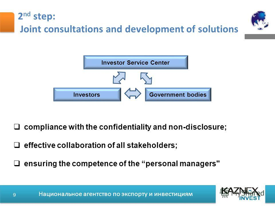Национальное агентство по экспорту и инвестициям 2 nd step: Joint consultations and development of solutions compliance with the confidentiality and non-disclosure; effective collaboration of all stakeholders; ensuring the competence of the personal