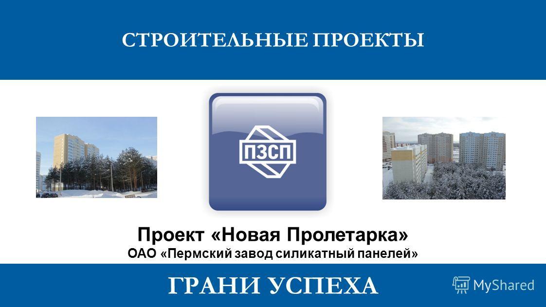 ГРАНИ УСПЕХА Проект «Новая Пролетарка» ОАО «Пермский завод силикатный панелей»