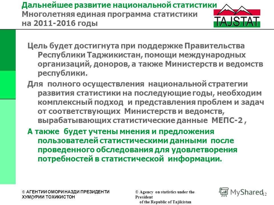 © АГЕНТИИ ОМОРИ НАЗДИ ПРЕЗИДЕНТИ XУМ{УРИИ ТОXИКИСТОН © Agency on statistics under the President of the Republic of Tajikistan Цель будет достигнута при поддержке Правительства Республики Таджикистан, помощи международных организаций, доноров, а также