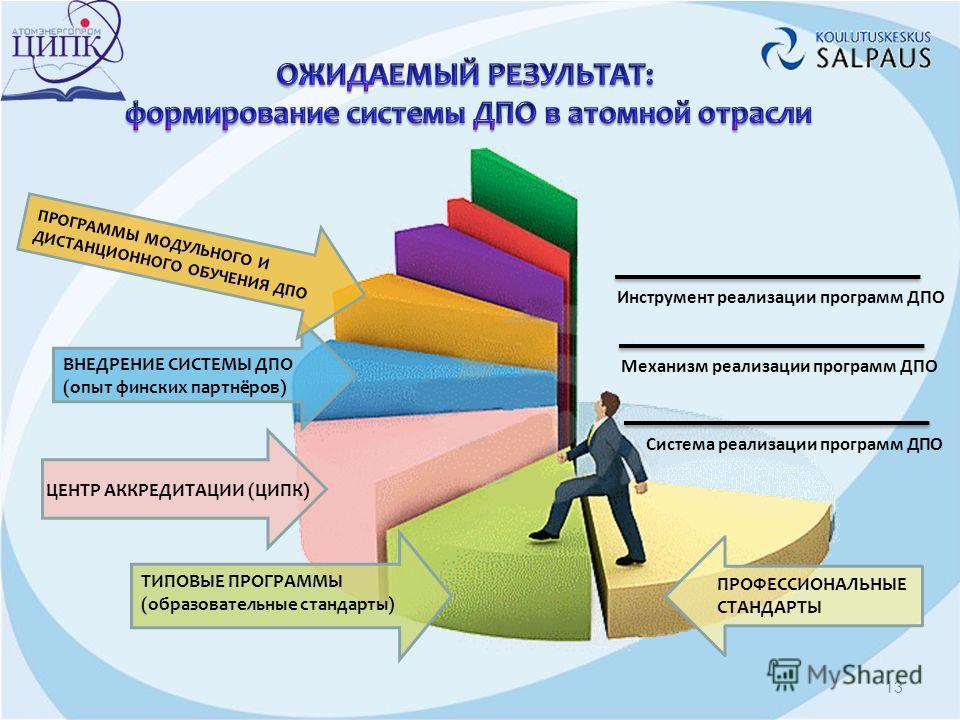 ПРОФЕССИОНАЛЬНЫЕ СТАНДАРТЫ ТИПОВЫЕ ПРОГРАММЫ (образовательные стандарты) ЦЕНТР АККРЕДИТАЦИИ (ЦИПК) ВНЕДРЕНИЕ СИСТЕМЫ ДПО (опыт финских партнёров) ПРОГРАММЫ МОДУЛЬНОГО И ДИСТАНЦИОННОГО ОБУЧЕНИЯ ДПО Система реализации программ ДПО Механизм реализации п
