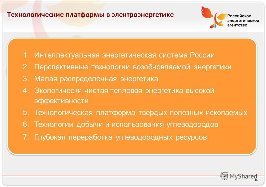 16 Технологические платформы в электроэнергетике 1.Интеллектуальная энергетическая система России 2.Перспективные технологии возобновляемой энергетики 3.Малая распределенная энергетика 4.Экологически чистая тепловая энергетика высокой эффективности 5