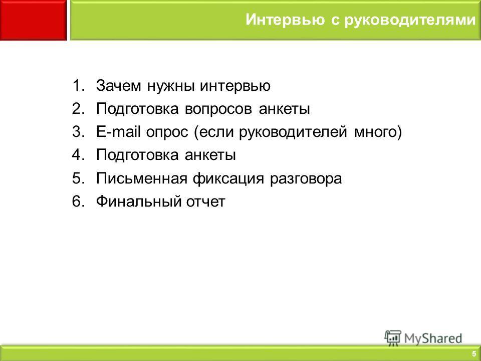 5 Интервью с руководителями 1.Зачем нужны интервью 2.Подготовка вопросов анкеты 3.E-mail опрос (если руководителей много) 4.Подготовка анкеты 5.Письменная фиксация разговора 6.Финальный отчет