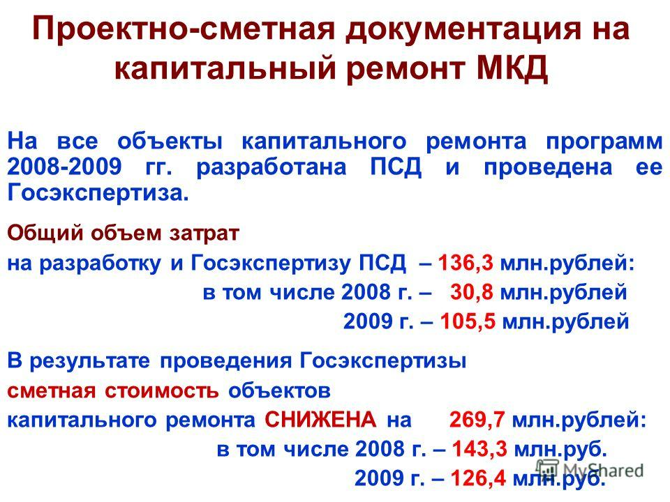 Проектно-сметная документация на капитальный ремонт МКД На все объекты капитального ремонта программ 2008-2009 гг. разработана ПСД и проведена ее Госэкспертиза. Общий объем затрат на разработку и Госэкспертизу ПСД – 136,3 млн.рублей: в том числе 2008