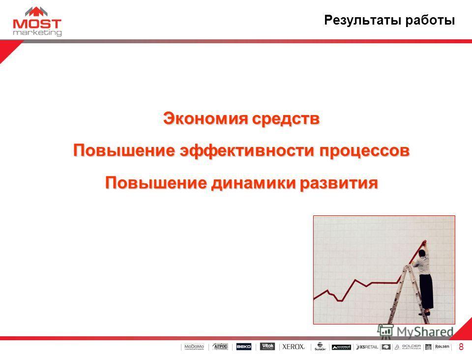 8 Результаты работы Экономия средств Повышение эффективности процессов Повышение динамики развития