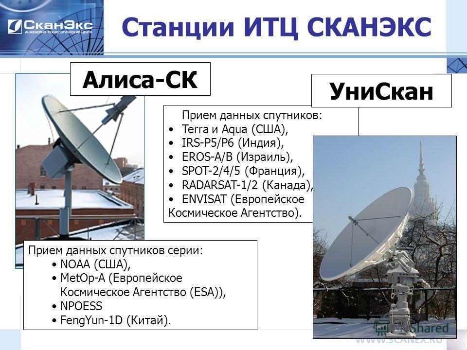 14 Станции ИТЦ СКАНЭКС Прием данных спутников серии: NOAA (США), MetOp-A (Европейское Космическое Агентство (ESA)), NPOESS FengYun-1D (Китай). Алиса-СК Прием данных спутников: Terra и Aqua (США), IRS-P5/P6 (Индия), EROS-A/B (Израиль), SPOT-2/4/5 (Фра