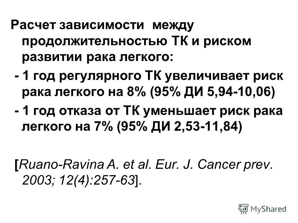 Расчет зависимости между продолжительностью ТК и риском развитии рака легкого: - 1 год регулярного ТК увеличивает риск рака легкого на 8% (95% ДИ 5,94-10,06) - 1 год отказа от ТК уменьшает риск рака легкого на 7% (95% ДИ 2,53-11,84) [Ruano-Ravina A.