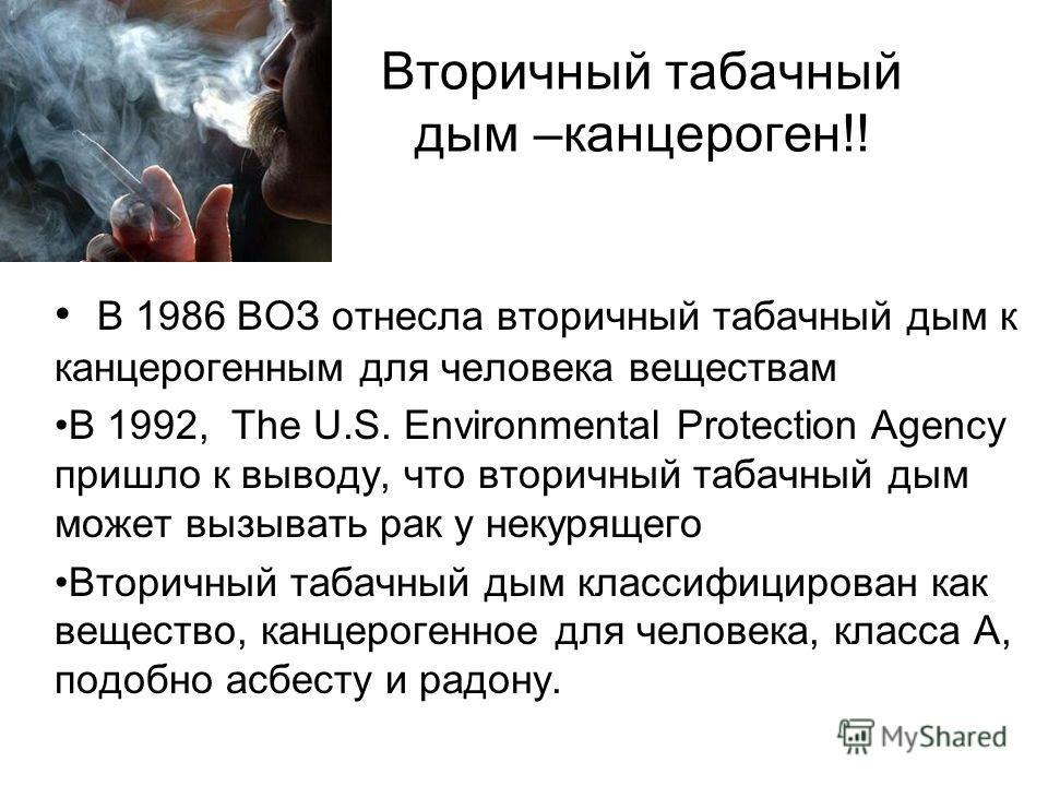 Вторичный табачный дым –канцероген!! В 1986 ВОЗ отнесла вторичный табачный дым к канцерогенным для человека веществам В 1992, The U.S. Environmental Protection Agency пришло к выводу, что вторичный табачный дым может вызывать рак у некурящего Вторичн