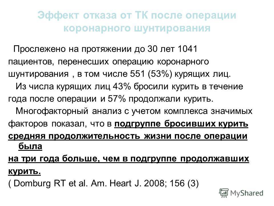 Эффект отказа от ТК после операции коронарного шунтирования Прослежено на протяжении до 30 лет 1041 пациентов, перенесших операцию коронарного шунтирования, в том числе 551 (53%) курящих лиц. Из числа курящих лиц 43% бросили курить в течение года пос