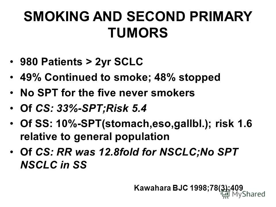 SMOKING AND SECOND PRIMARY TUMORS 980 Patients > 2yr SCLC 49% Continued to smoke; 48% stopped No SPT for the five never smokers Of CS: 33%-SPT;Risk 5.4 Of SS: 10%-SPT(stomach,eso,gallbl.); risk 1.6 relative to general population Of CS: RR was 12.8fol
