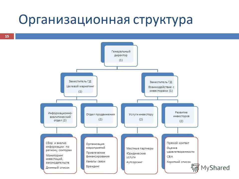 Организационная структура Генеральный директор (1) Заместитель ГД : Целевой маркетинг (1) Информационно - аналитический отдел (2) Сбор и анализ информации : по региону, секторам Мониторинг инвестиций, законодательств Длинный список Отдел продвижения