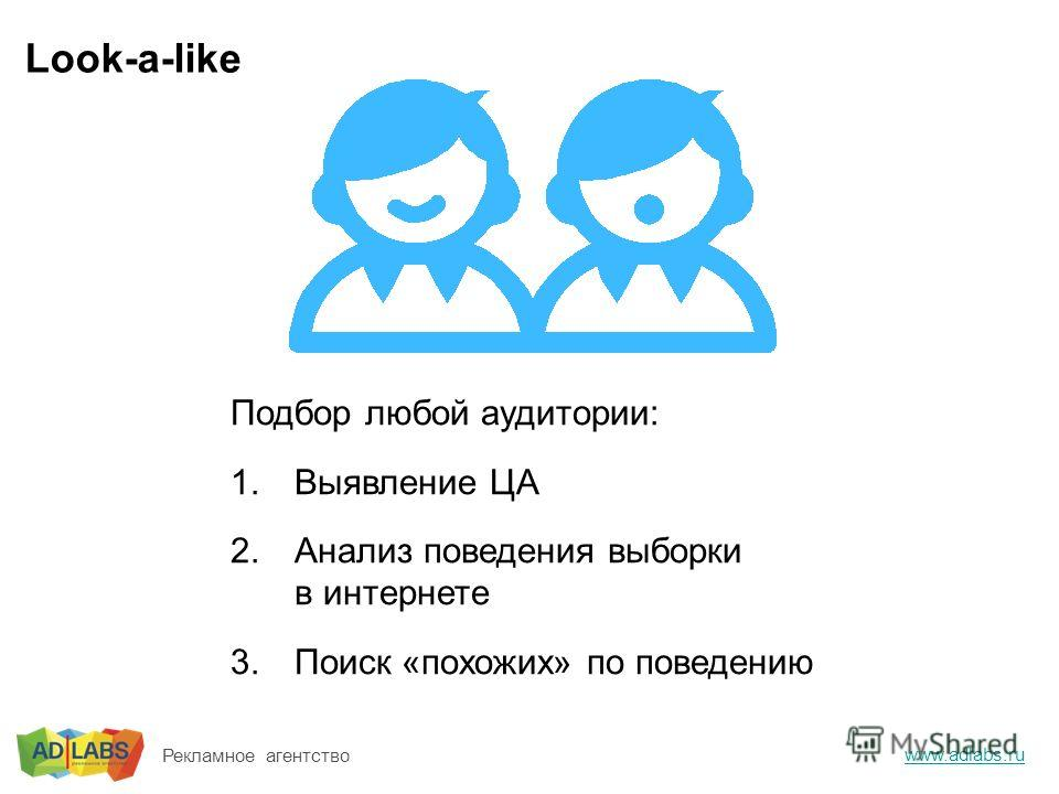 Look-a-like www.adlabs.ru Рекламное агентство Подбор любой аудитории: 1.Выявление ЦА 2.Анализ поведения выборки в интернете 3.Поиск «похожих» по поведению