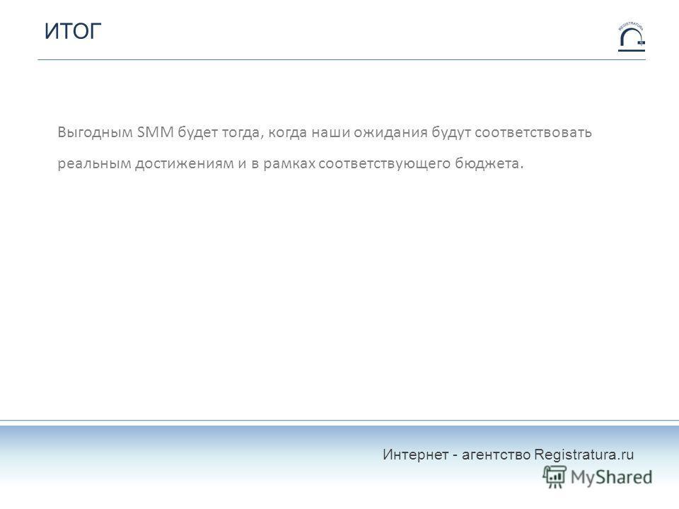ИТОГ Выгодным SMM будет тогда, когда наши ожидания будут соответствовать реальным достижениям и в рамках соответствующего бюджета. Интернет - агентство Registratura.ru