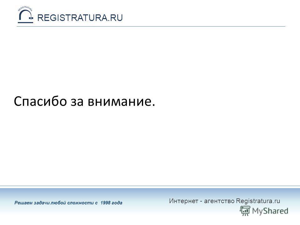 Решаем задачи любой сложности с 1998 года REGISTRATURA.RU Спасибо за внимание. Интернет - агентство Registratura.ru