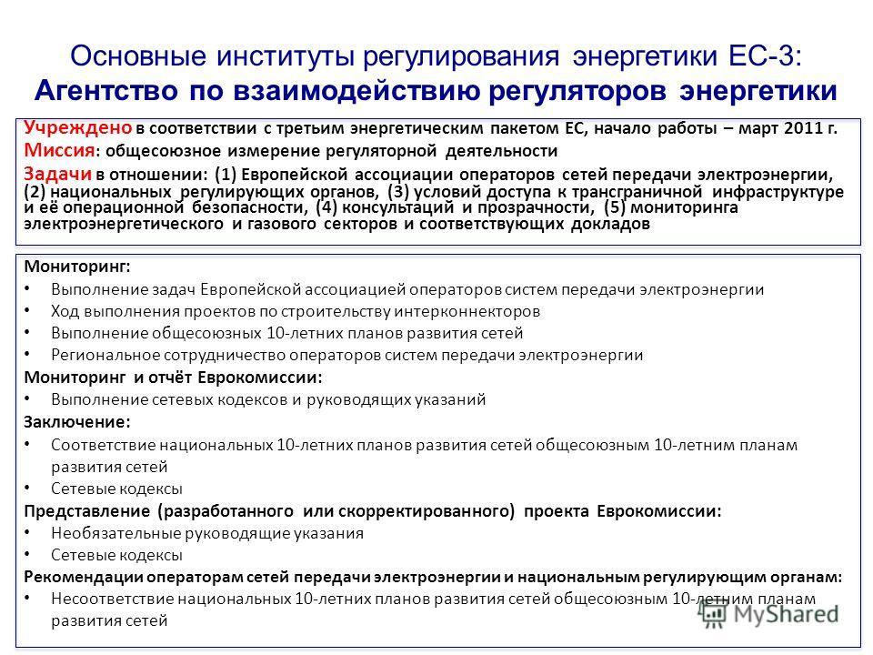 Основные институты регулирования энергетики ЕС-3: Агентство по взаимодействию регуляторов энергетики Учреждено в соответствии с третьим энергетическим пакетом ЕС, начало работы – март 2011 г. Миссия : общесоюзное измерение регуляторной деятельности З