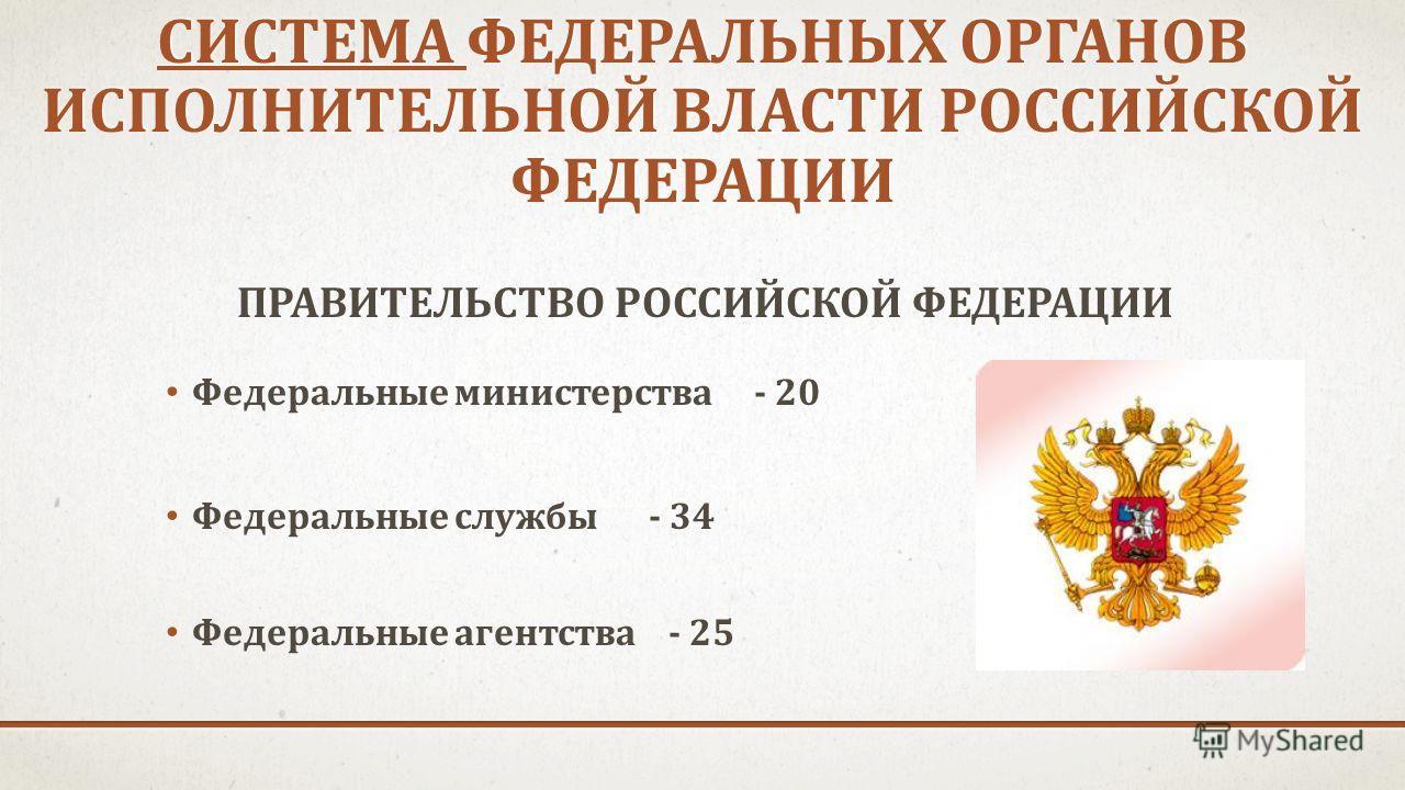 СИСТЕМА ФЕДЕРАЛЬНЫХ ОРГАНОВ ИСПОЛНИТЕЛЬНОЙ ВЛАСТИ РОССИЙСКОЙ ФЕДЕРАЦИИ ПРАВИТЕЛЬСТВО РОССИЙСКОЙ ФЕДЕРАЦИИ Федеральные министерства - 20 Федеральные службы - 34 Федеральные агентства - 25